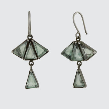 Faceted Deco Style Fan Drop Earrings