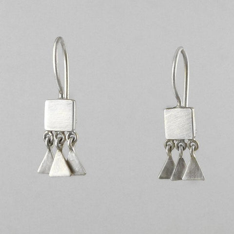 Tiny Square Drops with Triangle Dangle Earrings