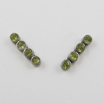 Faceted Stone Bar Stud Earrings