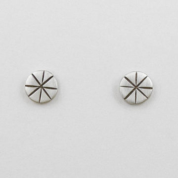 Hand Etched Disc Stud Earrings