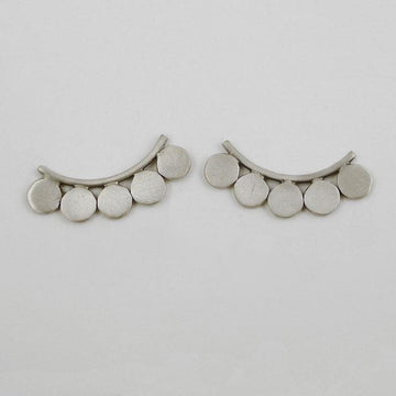 Curved Bar and Disc Stud Earring