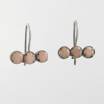 Three Stone Bar Drop Earrings