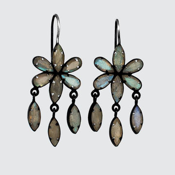 Beautiful Flower Earring with Faceted Marquis Dangles