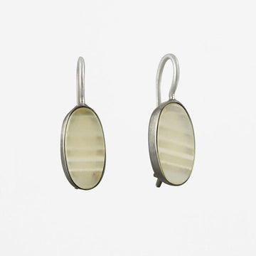 Oval Flat-Cut Stone Drop Earrings