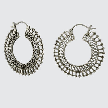 Large Filigree and Granulation Hoop Earrings