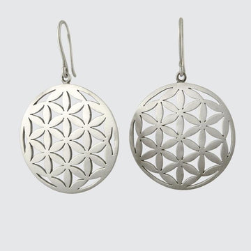 Flower of Life Disc Drop Earring