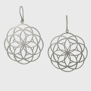 Large Hand Cut Spirograph Drop Earring