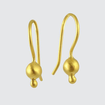 Tiny Double Ball Drop earrings