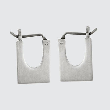 Small, Chunky Rectangle Hoop Earring