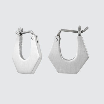 Small Chunky Hexagonal Hoop Earrings