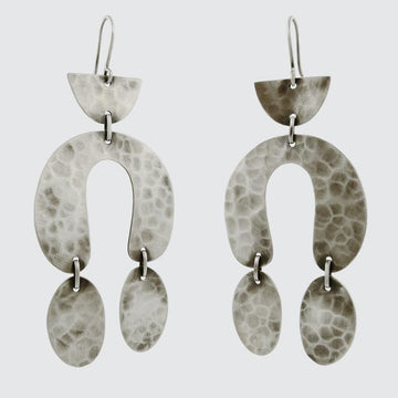 Large Hammered Mid-Century Drop Earrings