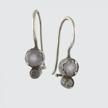 Tiny Faceted Double Stone Drop Earring