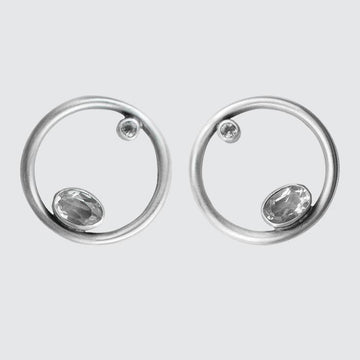 Large Sterling Silver Circle Stud with Faceted Stones
