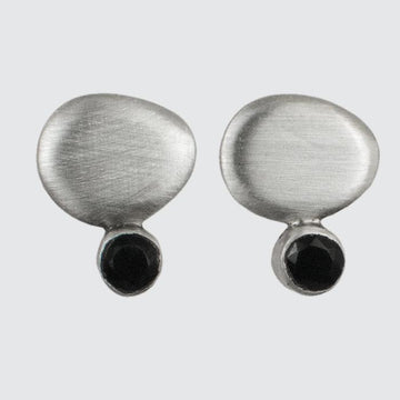 Organic Disc Stud Earring with Tiny Faceted Stone