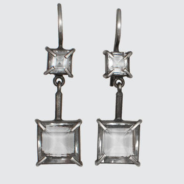 Sterling Silver Faceted Claw Set Square Stone Drop Earrings