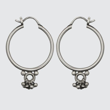 Medium Hoop Earrings with Ring and Ball Dangles