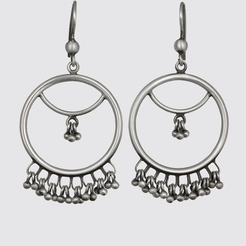 Large 2 Tier Hoop Earrings with Ball Dangles