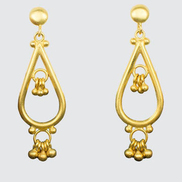 Large Tear Drop Earrings with Ball Dangles