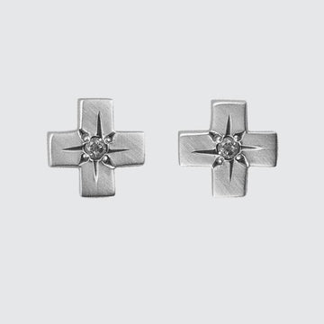 Cross Stud with Star Set Stone Earring
