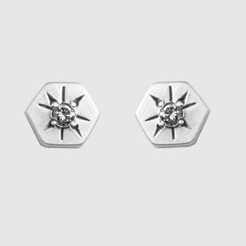 Hexagon Stud Earring with Star Set Stone