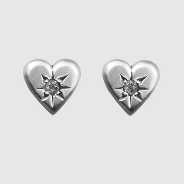 Heart Stud Earring with Star Set Stone