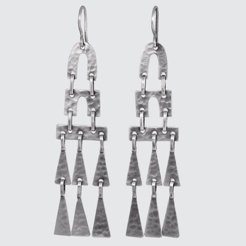 Large Hammered Chandelier Drop Earrings