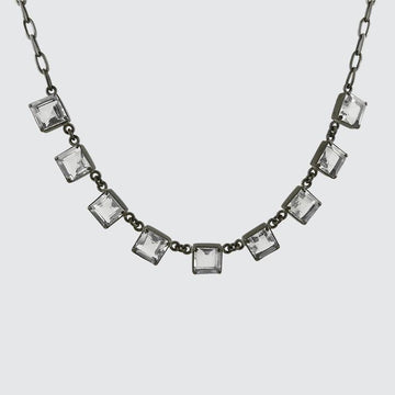 Faceted Square Stone Necklace