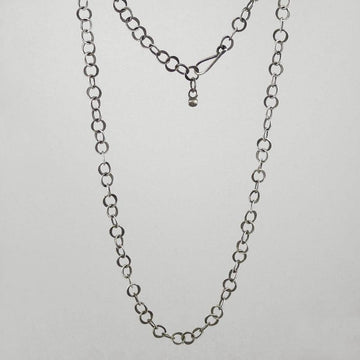Hammered Round Link Chain Necklace
