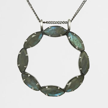 Faceted Marquis Circle Pendant Necklace
