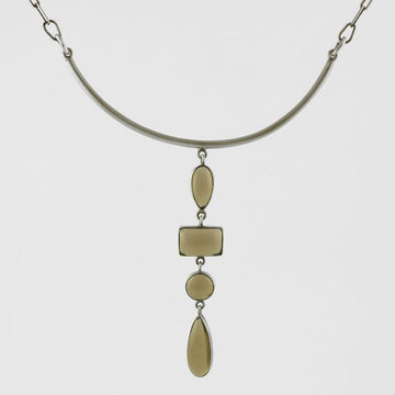 Cabochon Smokey Quartz Cascade Bar Necklace In Sterling Silver.