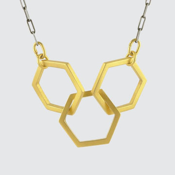 Triple Hexagon Gold Plate Link Necklace