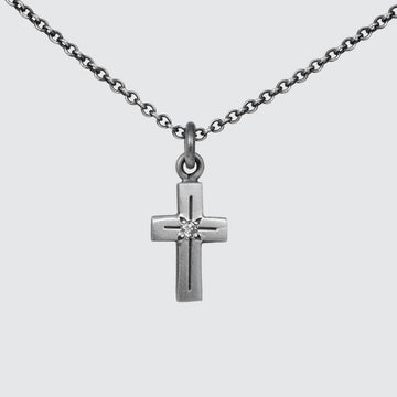 Tiny Cross Necklace with Star Set Stone