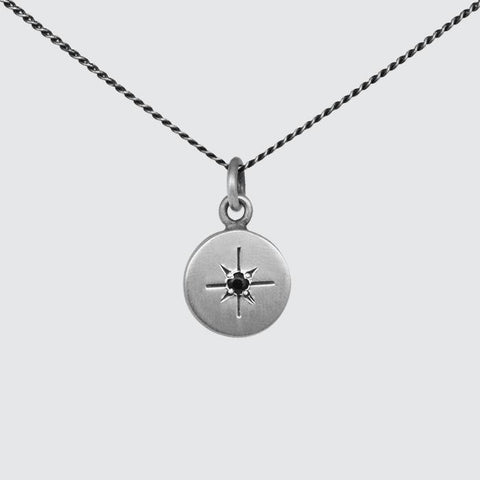 Disc Necklace with Star Set Stone
