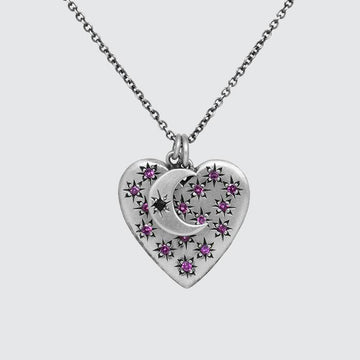 Large Heart and Moon Charm Necklace