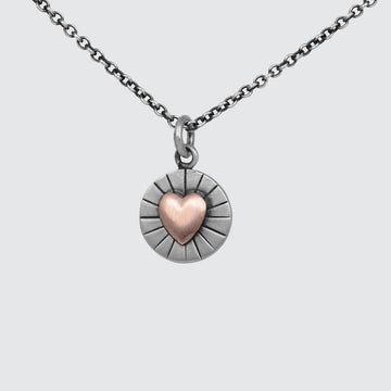 Heart of Gold Sterling Silver and Gold Charm Necklace