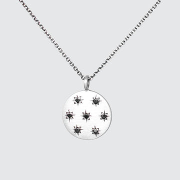 Star Set Stone Disc Necklace