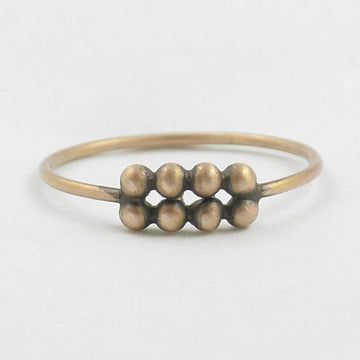 Two Rows of Granulation on Thin Round Band Gold Ring