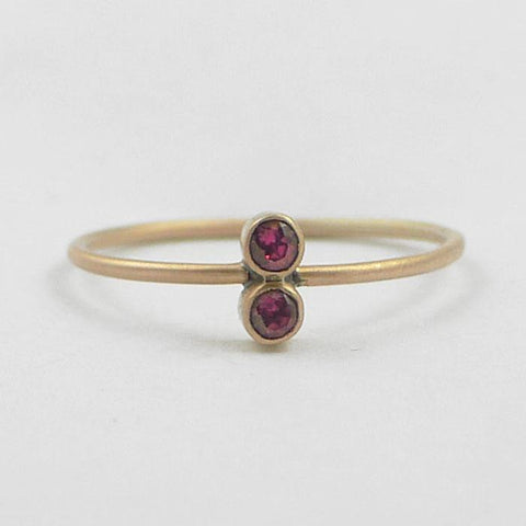 Tiny faceted two stones stacking skinny band
