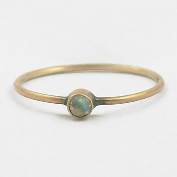 Tiny Faceted Stone on Thin Round Band