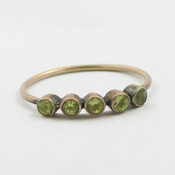 Five Faceted Stones on Thin Round Band Gold Ring