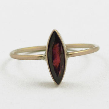 Faceted Stone Marquis Solid Gold Stacking Ring