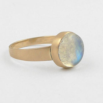 Small Round Cabochon Stone Ring in Gold