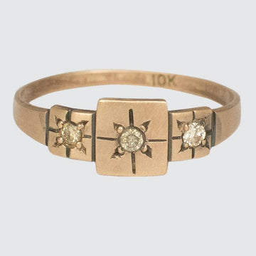 Triple Square Gold Ring with Star Set Diamonds