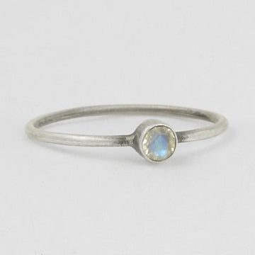 Tiny Single Faceted Stone Ring