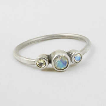 Tiny Three Stone Stacking Ring
