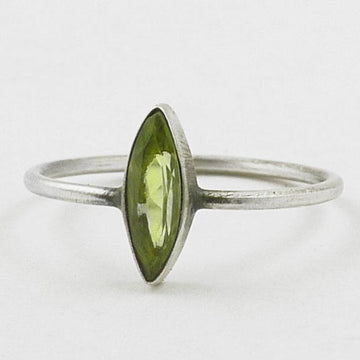 Faceted stone marquis sterling silver stacking ring
