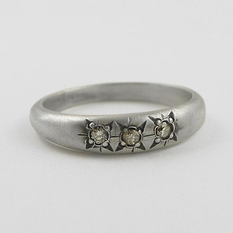 Three Stone Victorian Star Set Ring