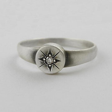 Disc with Star Set Diamond Ring