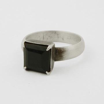 Faceted Stone Square Stacking Ring
