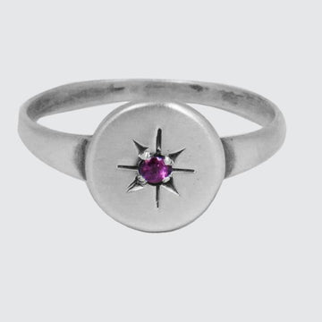 Disc with Star Set Stone Ring